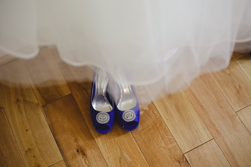 Blue wedding shoes by Love oh Love photography