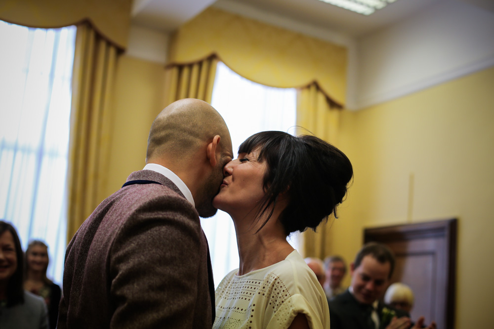 first bride and groom kiss Islington town hall by love oh love photography