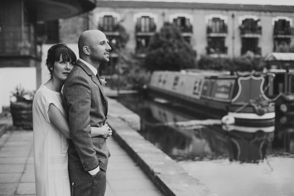 bride and groom portraits at canal museum London
