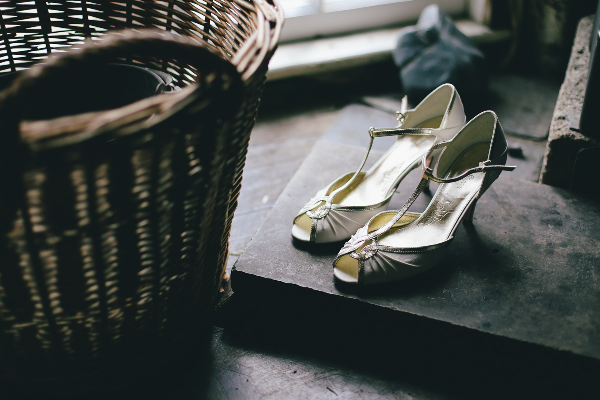 Vintage inspired shoes at Prussia Cove, Cornwall wedding by Love Oh Love Photography