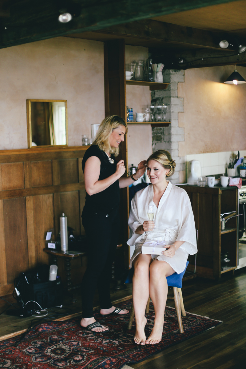 Bridal prep at Prussia Cove, Cornwall wedding by Love Oh Love Photography