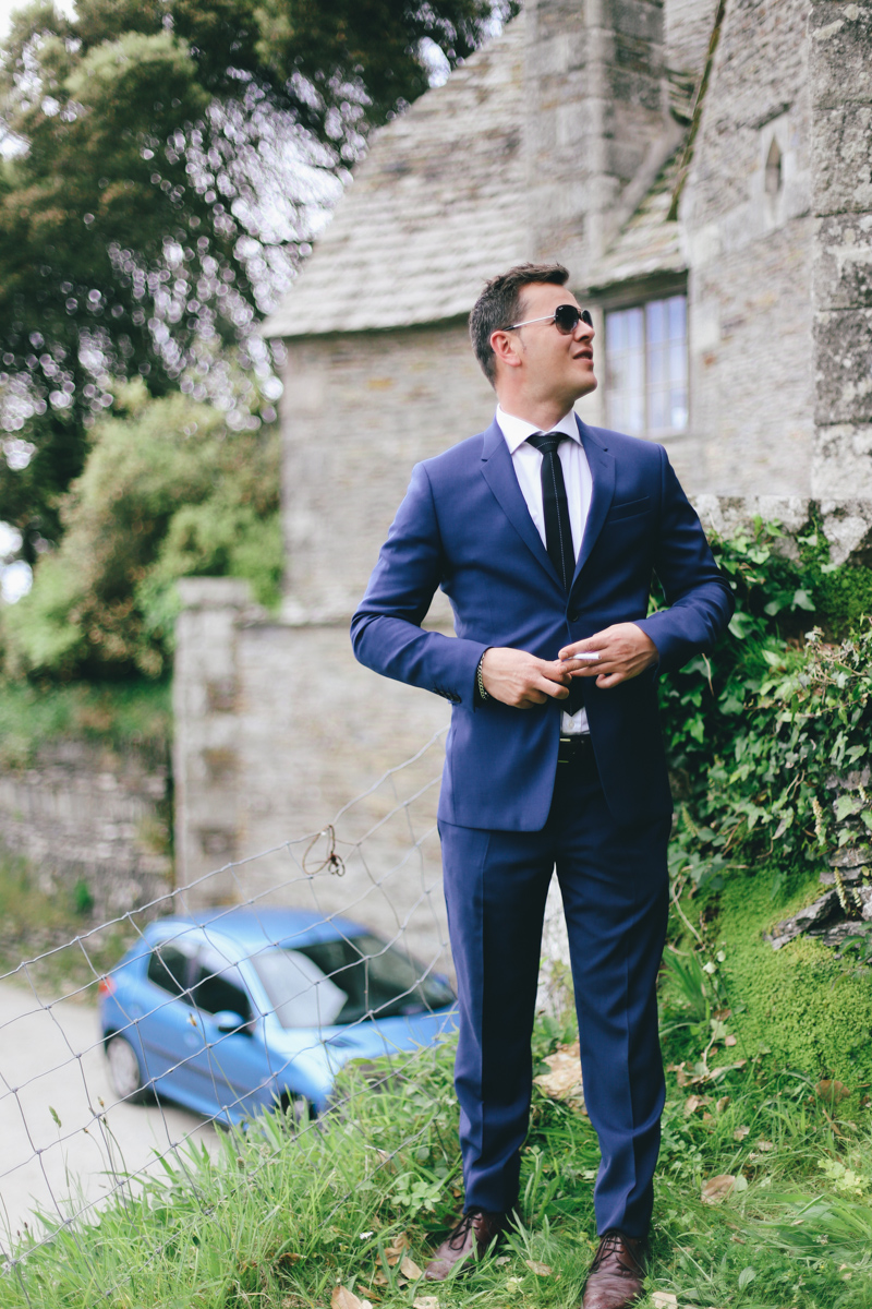 Classic English groom style at Prussia Cove, Cornwall wedding by Love Oh Love Photography