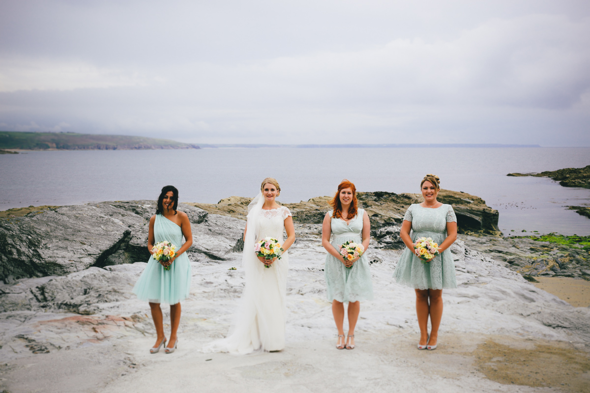 Group shot at Prussia Cove, Cornwall Wedding by Love Oh Love Photography