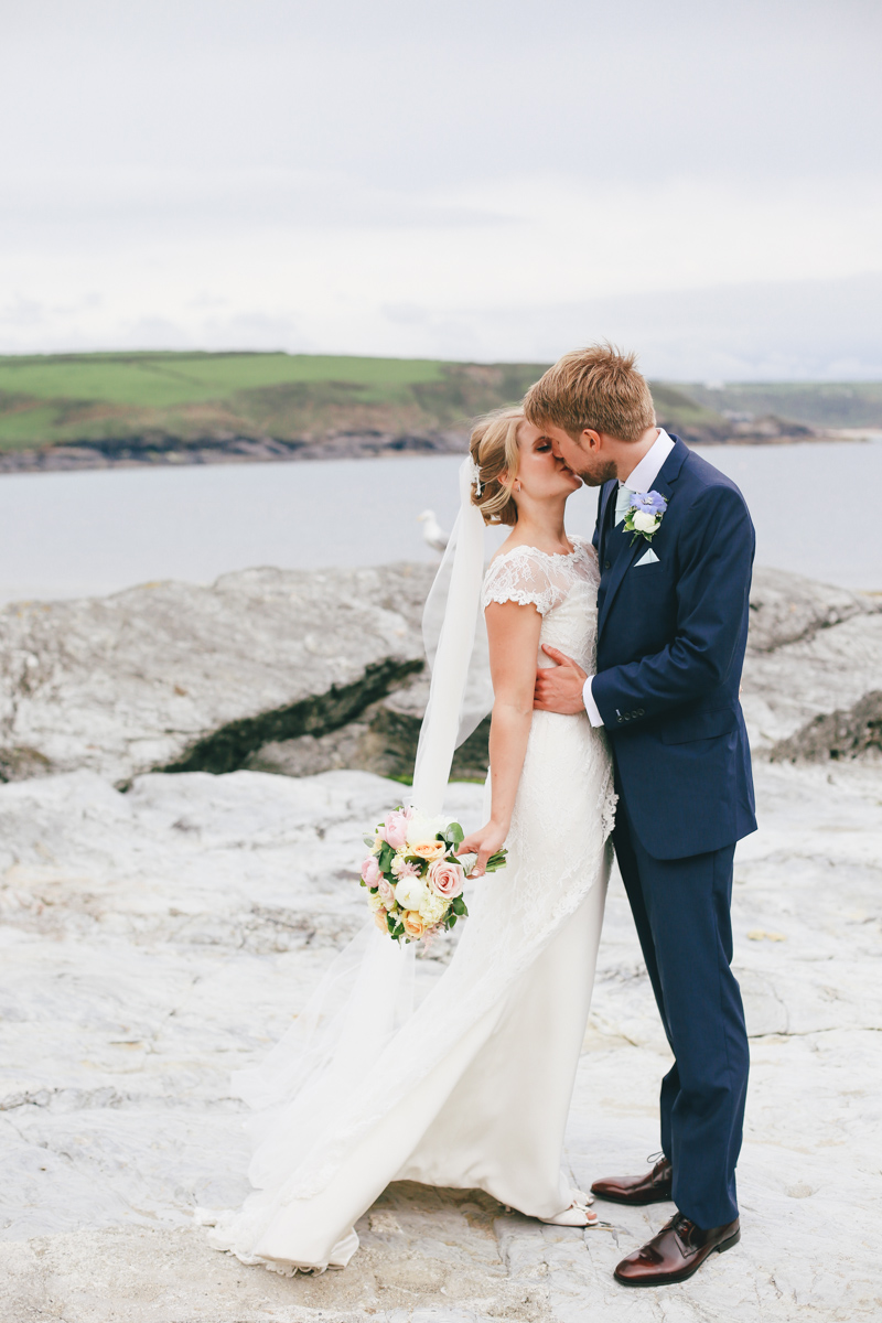 Outdoor wedding portraits at Prussia Cove, Cornwall Wedding by Love Oh Love Photography
