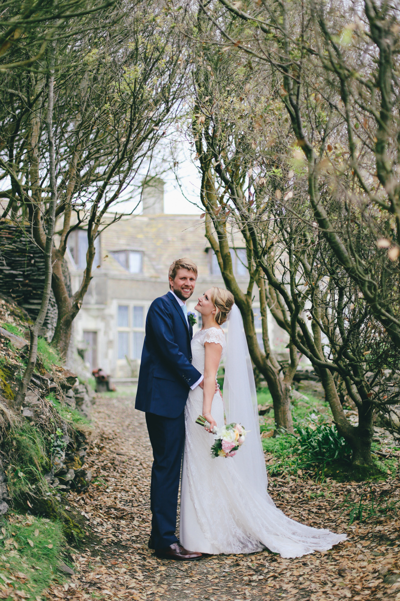 Outdoor bride and groom portraits at Prussia Cove, Cornwall Wedding by Love Oh Love Photography