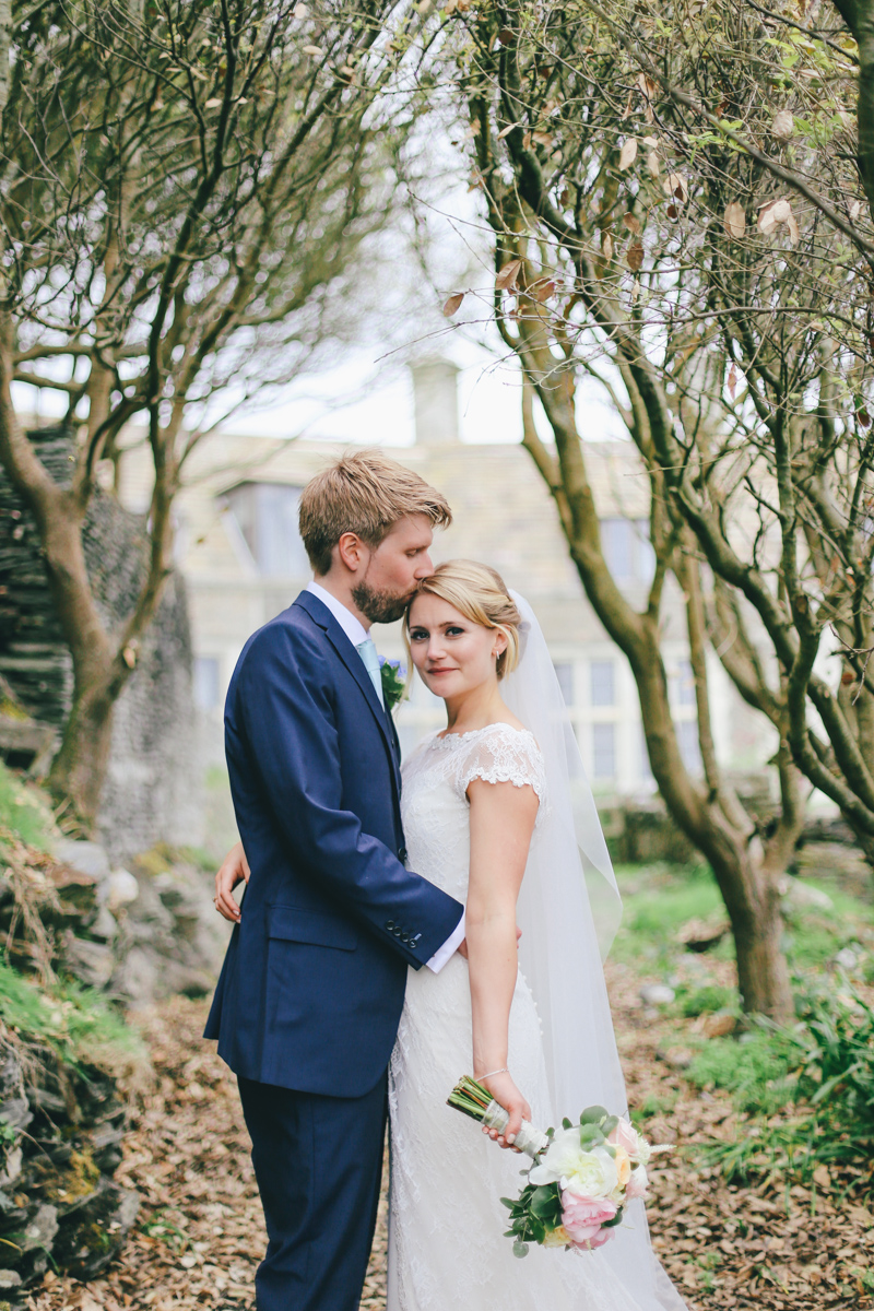 Bride and groom portraits at Prussia Cove, Cornwall Wedding by Love Oh Love Photography