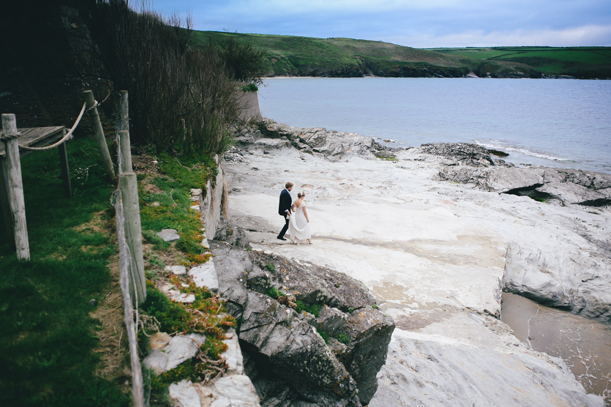 Bride and groom portrait at Prussia Cove, Cornwall Wedding by Love Oh Love Photography